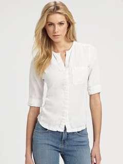 James Perse   Linen Jewelneck Shirt