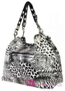 PATENT SAFARI STITCHED LEOPARD ANIMAL PRINT CHAIN HOBO BAG PURSE BLACK