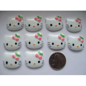10 Large Resin Cabochon Flat Back Kitty Cat Pink Cherry