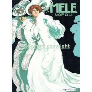Mele Napoli Fashion Ladies White Green Dress Italy Italia Italian Art