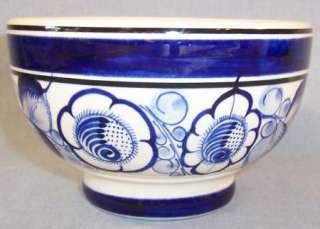 MEXICAN POTTERY BOWL~BLUE FLORAL DESIGN~GOMEZ~JALISCO*
