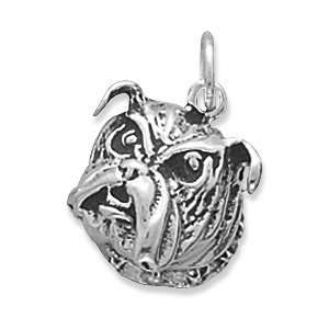 Sterling Silver Bulldog Face Charm with 18 Steel Chain Jewelry