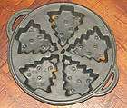 Christmas Tree Cast Iron Cookie Mold, Round, 5 Cookies