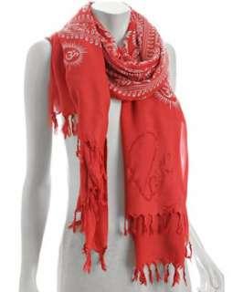 Sir Alistair Rai red printed Crystal Love scarf