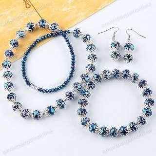New Navy Blue Crystal Glass Beads Necklace Bracelet Earrings Jewelry