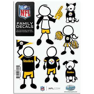 PITTSBURGH STEELERS Logo NFL 6 Pack FAMILY 5 x 7 Car Decal Set Small