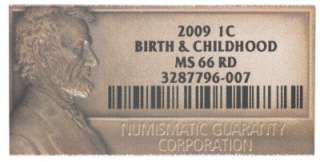 States NGC MS 66 Lincoln Birth & Childhood One Cent Copper Coin