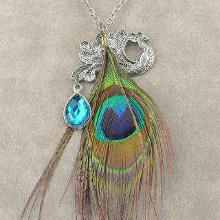 Peacock Tear Drop Simulated Sapphire Peacock Feather Pendant Necklace