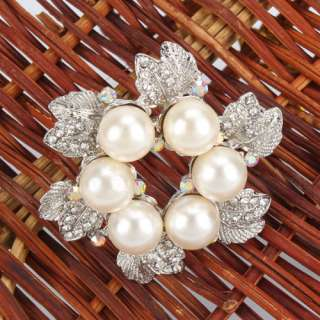 Flower shaped Style Rhinestone Imitation Pearl alloy Brooch Pin