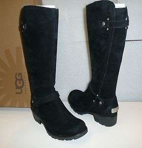 Ugg Jillian black suede riding boots New in Box