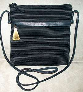 GORGEOUS SHARIF BLACK TEXTURED FABRIC AND LEATHER CROSS BODY BAG, CHIC