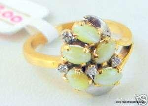14K SOLID GOLD CATS EYE DIAMOND GEMSTONE RING JEWELRY