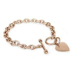 Stainless Steel Rose Gold Plated Heart Tag Bracelet 7.5 Jewelry