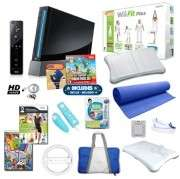 Nintendo Wii Black Super Mario Mega Bundle with Wii Fit Plus, 3 Games